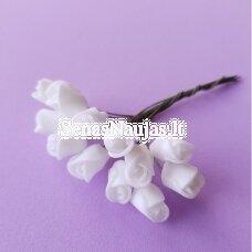 Rožytės iš putgumės, balta sp., 12 žiedų