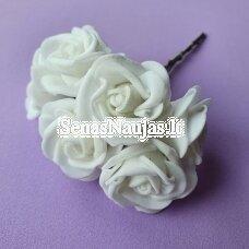 Rožytės iš putgumės, balta sp., 6 žiedai
