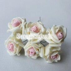 Rožytės iš putgumės, kreminė ir rožinė sp., 6 žiedai