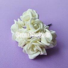 Rožytės iš putgumės, kreminė sp., 6 žiedai