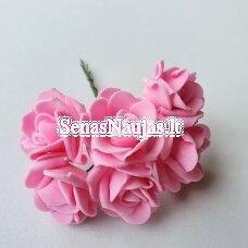 Rožytės iš putgumės, ryški rožinė sp., 6 žiedai