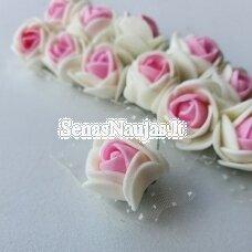 Rožytės su tiuliu, kreminė ir rožinė sp., 12 žiedų