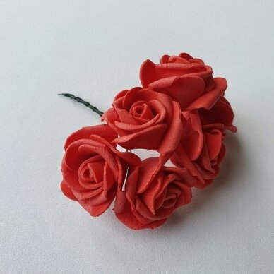 Rožytės iš putgumės, raudona sp., 6 žiedai