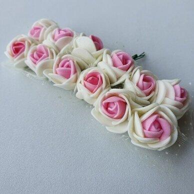 Rožytės su tiuliu, kreminė ir rožinė sp., 12 žiedų 2