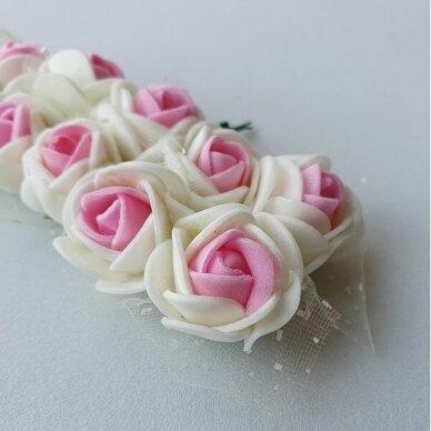 Rožytės su tiuliu, kreminė ir rožinė sp., 12 žiedų 3