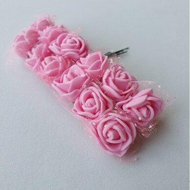 Rožytės su tiuliu, rožinė sp., 12 žiedų 2