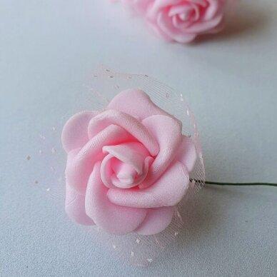 Rožytės su tiuliu, šviesi rožinė sp., 6 žiedai