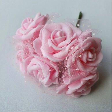 Rožytės su tiuliu, šviesi rožinė sp., 6 žiedai 2