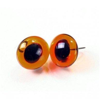 Rudos blizgios stiklinės akys, 1 pora