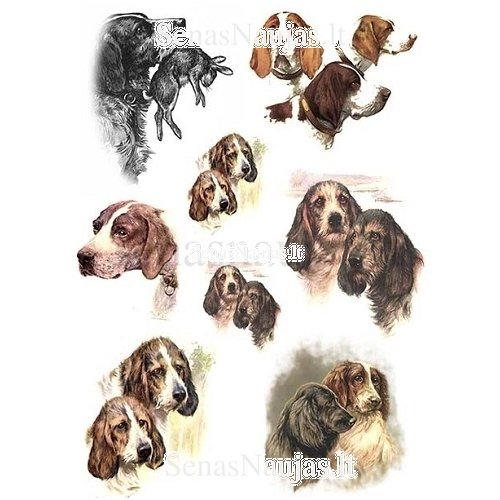 Vintage Dogs for Decoupage Scrapbooking Sheet Craft Rice paper