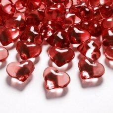 Stiklinės dekoracijos širdelės, raudona spalva