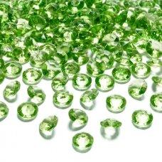 Stikliniai karoliukai – dekoracijos, šviesi žalia spalva