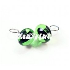 Glass green cat eyes with a loop on the back, 1 pair